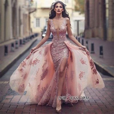 V-neck Slit Lace Amazing Front Tulle Pink Overskirt Appliques Evening Dress UK JJ0156_1