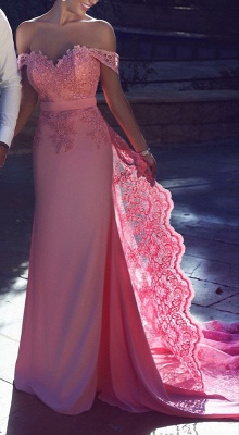 Off-the-Shoulder Lace Lace Long Natural A-Line Candy-Pink Prom Dress UKes UK BA3857_2