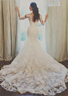 Elegant 3/4-long-sleeve Illusion Tulle Wedding Dress Lace Appliques 780I0_1