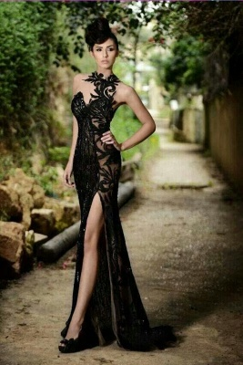 Elegant Black Prom Dress UK| Mermaid Evening Dress UK With Slit_2