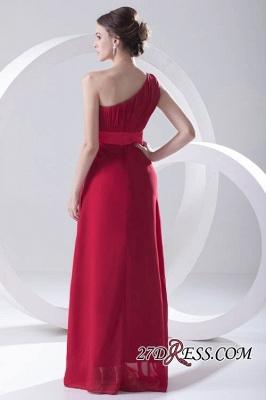 Floor-length Elegant Sleeveless A-line Red One-shoulder Bridesmaid Dress UK_4