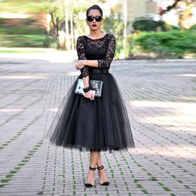 Elegant Black Lace 3/4 Sleeve Prom Dress UKes UK Tulle Tea-Length_3