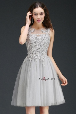 Silver Tulle Short A-Line Sleeveless Appliques Homecoming Dress UK_8