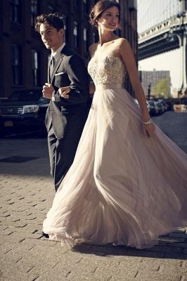 Simple A-Line Tulle Prom Dress UKes UK Appliques Floor Length Evening Dress UKes UK_1