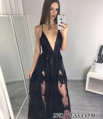 Side-Slits Spaghettis-Straps Appliques A-line Black Prom Dress UKes UK BA4594_1