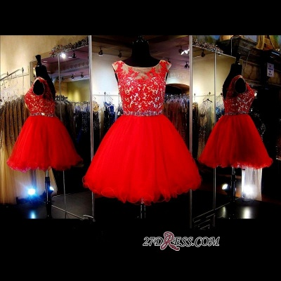 A-Line Red Appliques Tulle Short Sleeveless Mini Homecoming Dress UK_2