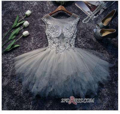 Lace-Appliques Cute Sleeveless Short Illusion Puffy Homecoming Dress UK_3
