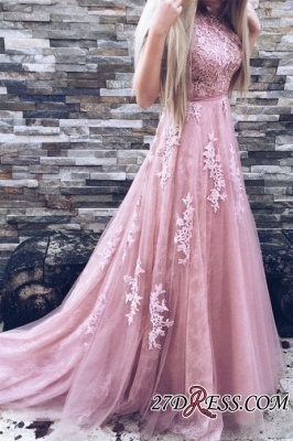 Lace Floor-Length A-Line Luxury High-Neck Pink Prom Dress UKes UK_3