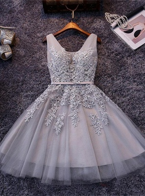 Beautiful Sleeveless lace-up Short homecoming Dress UK Lace Appliques Tulle BA3782_4