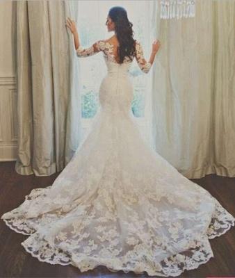 Elegant 3/4-long-sleeve Illusion Tulle Wedding Dress Lace Appliques 780I0_3