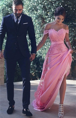 Off-the-Shoulder Lace Lace Long Natural A-Line Candy-Pink Prom Dress UKes UK BA3857_3