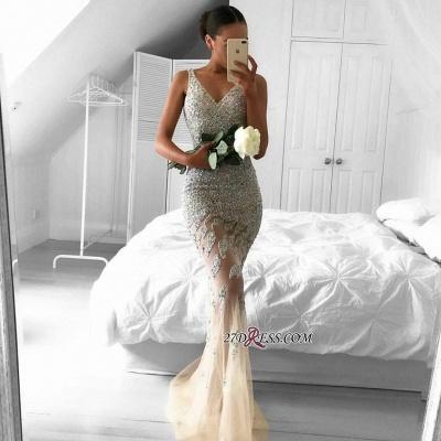 Lace-Appliques Beads Sleeveless Straps Tulle Luxury Mermaid Evening Dress UK BA6959_1