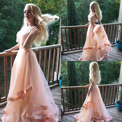 Luxury Two Pieces Beads Prom Dress UK Tulle Ruffles Romantic_3