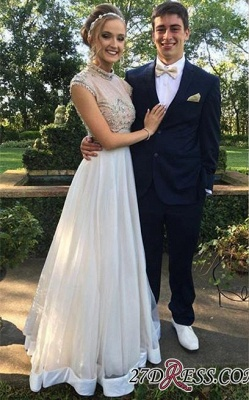 Two-Piece Cap-Sleeve Newest Crystal High-neck A-line Prom Dress UK BA7445_2