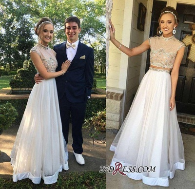 Two-Piece Cap-Sleeve Newest Crystal High-neck A-line Prom Dress UK BA7445_1