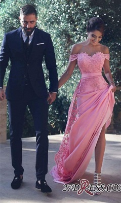 Off-the-Shoulder Lace Lace Long Natural A-Line Candy-Pink Prom Dress UKes UK BA3857_1