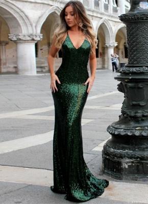 Elegant Green Sequined Bodycon Evening Dress UK | Long Formal Dress UK_1