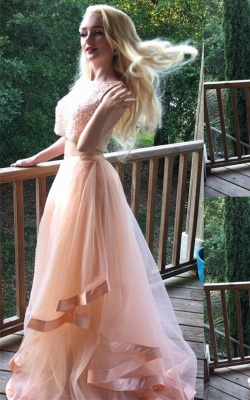 Luxury Two Pieces Beads Prom Dress UK Tulle Ruffles Romantic_1