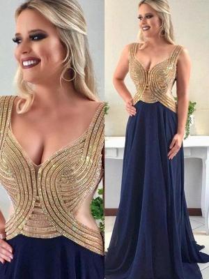 Luxury Sleeveless V-Neck Evening Dress UK Long Chiffon With Beadings_1