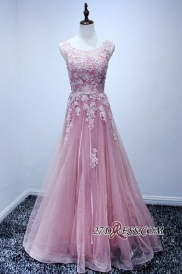 Lace Floor-Length A-Line Luxury High-Neck Pink Prom Dress UKes UK_1