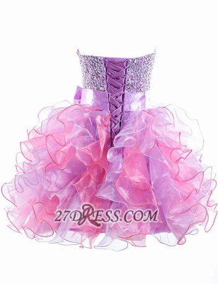 Gorgeous Sweetheart Sleeveless Ruffles Short Homecoming Dress UK Beadings Crystals Bowknot Lace-up Cocktail Gown_2