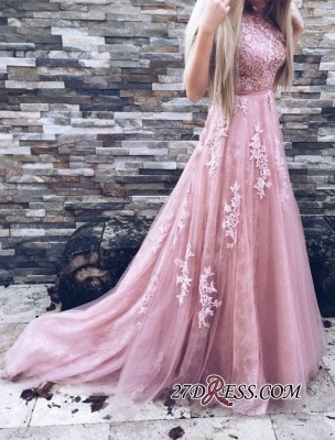 Lace Floor-Length A-Line Luxury High-Neck Pink Prom Dress UKes UK_2