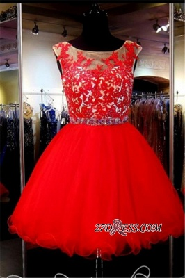A-Line Red Appliques Tulle Short Sleeveless Mini Homecoming Dress UK_3