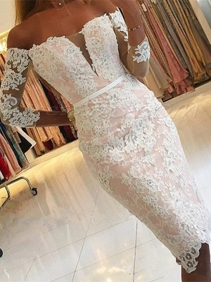 Off-the-Shoulder Long-Sleeves Appliques Sheath Pink Elegant Homecoming Dress UK qq0363_1