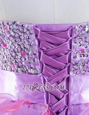 Gorgeous Sweetheart Sleeveless Ruffles Short Homecoming Dress UK Beadings Crystals Bowknot Lace-up Cocktail Gown_5