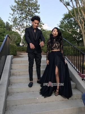 Newest Two-Piece Black Front-Split Long-Sleeve Lace Prom Dress UK BA7710_4