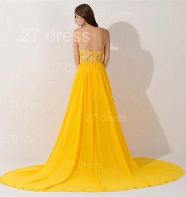 Elegant Chiffon Yellow Lace Appliques Evening Dress UK Front Split_4