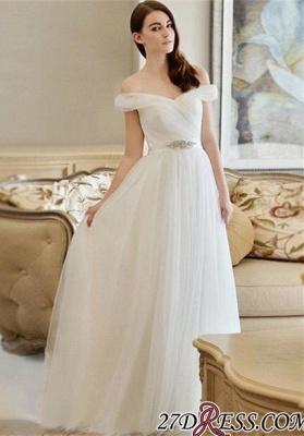 Crystal Off-the-shoulder Long Newest A-line Wedding Dress_1