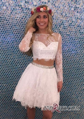 Lace Lovely Two-Pieces Lace Short Long-Sleeves Beadings Homecoming Dress UK_2