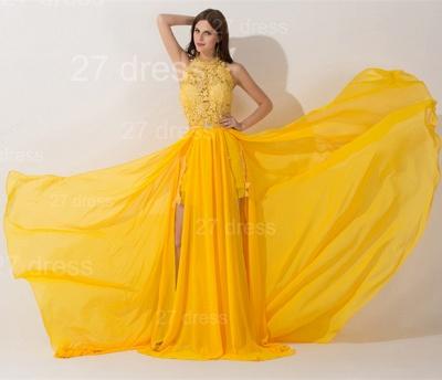 Elegant Chiffon Yellow Lace Appliques Evening Dress UK Front Split_2