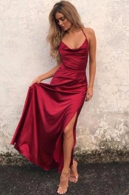 Elegant Red Sleeveless Spaghetti Strap Prom Dress UK Front Split Long Backless_2
