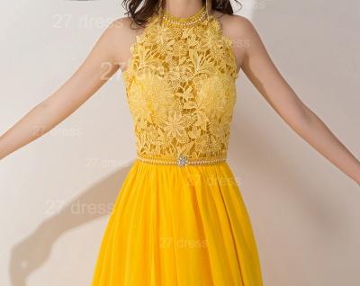 Elegant Chiffon Yellow Lace Appliques Evening Dress UK Front Split_3