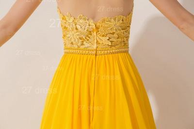 Elegant Chiffon Yellow Lace Appliques Evening Dress UK Front Split_5