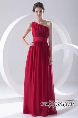 Floor-length Elegant Sleeveless A-line Red One-shoulder Bridesmaid Dress UK_3