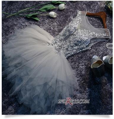 Lace-Appliques Cute Sleeveless Short Illusion Puffy Homecoming Dress UK_4