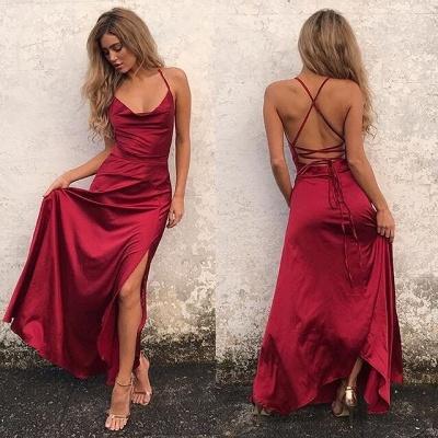 Elegant Red Sleeveless Spaghetti Strap Prom Dress UK Front Split Long Backless_3