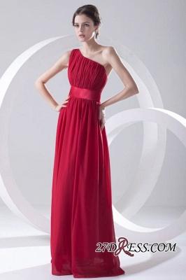 Floor-length Elegant Sleeveless A-line Red One-shoulder Bridesmaid Dress UK_6