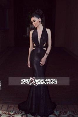 Sleeveless Black Elegant Mermaid V-Neck New Prom Dress UK_1