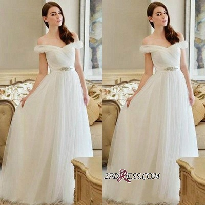 Crystal Off-the-shoulder Long Newest A-line Wedding Dress_2