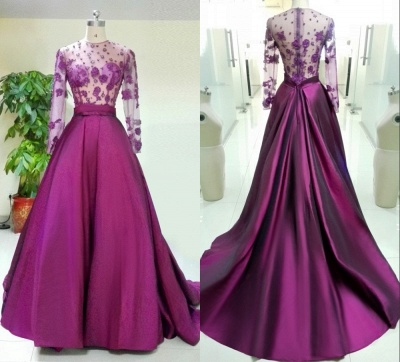 Luxury Long Sleeve Evening Dress UK Appliques Beadings_3