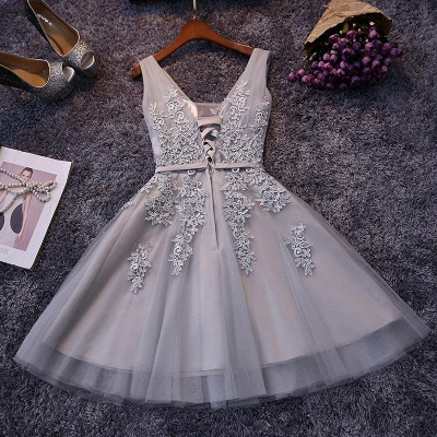 Beautiful Sleeveless lace-up Short homecoming Dress UK Lace Appliques Tulle BA3782_5