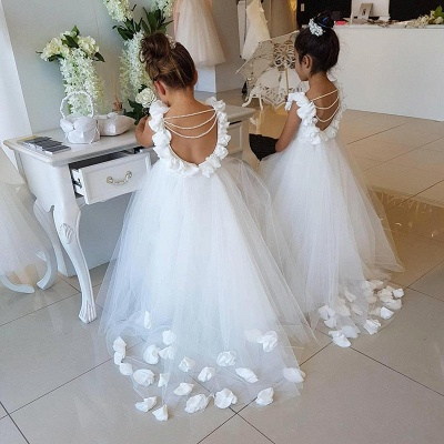 Lovely White Flower Girl Dress | 2019 Tulle Long Girls Pageant Dress_4