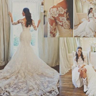 Elegant 3/4-long-sleeve Illusion Tulle Wedding Dress Lace Appliques 780I0_2
