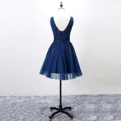 Beautiful Sleeveless lace-up Short homecoming Dress UK Lace Appliques Tulle BA3782_8