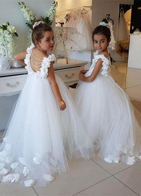 Lovely White Flower Girl Dress | 2019 Tulle Long Girls Pageant Dress_1