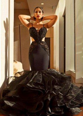 Elegant Black Evening Dress UK   Lace Mermaid Ruffles Prom Dress UK_1